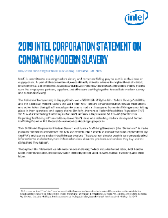 Intel Statement on Combating Modern Slavery