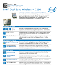 Intel® Dual Band Wireless-N 7260 Product Brief