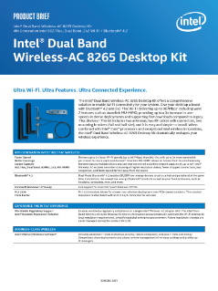 Product Brief: Intel® Dual Band Wireless-AC 8265 Desktop Kit